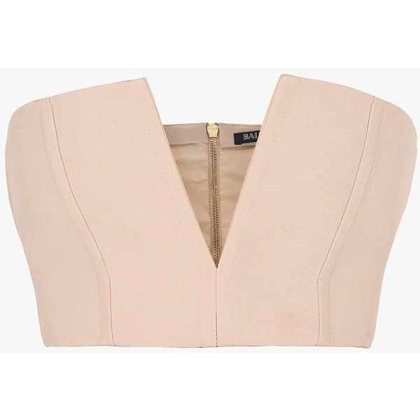Balmain Crepe bustier top ($1,040) ❤ liked on Polyvore featuring tops, pink strapless top, zipper top, crepe top, strapless bustier and strapless tops