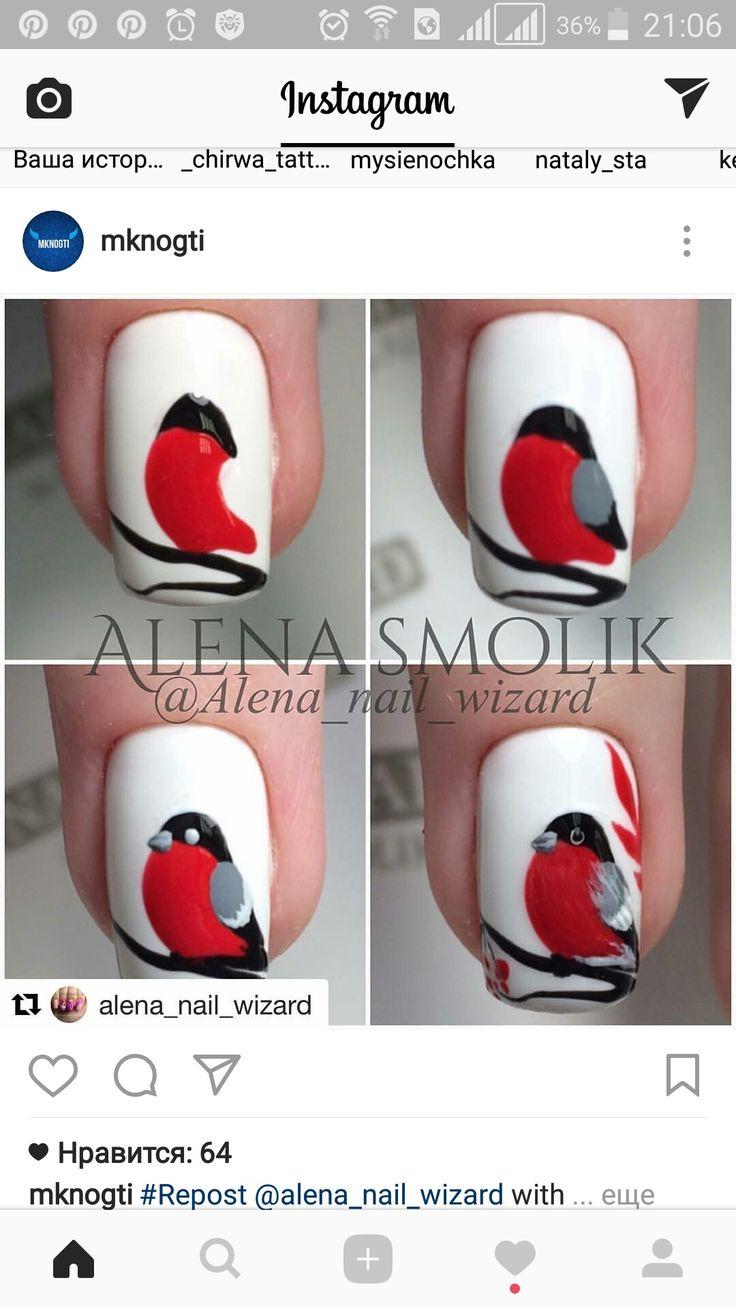 Tuto nail art oiseau rouge gorge
