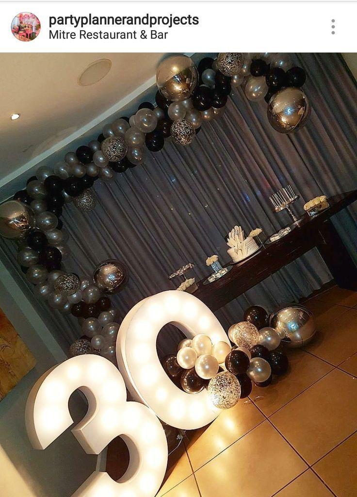 30th Black Silver And White Dessert Table Decor