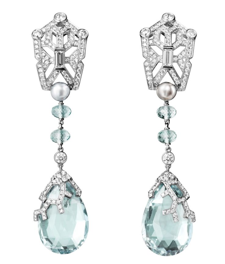Cartier Boreal Earrings - Platinum, aquamarines, natural pearls totalling 7.96 grains, baguette-cut diamonds, brilliants.