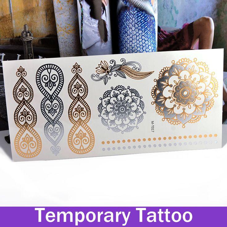 1 folha de ouro Stamping removível falso flores coração metálico tatuagem temporária papel de tatuagem de Henna adesivos(China (Mainland))