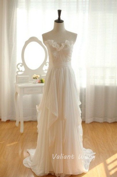 Ivory Chiffon Strapless Sweetheart Neckline Prom Dress Floor Length Ruffles Bridesmaid Dress on Etsy, $119.00