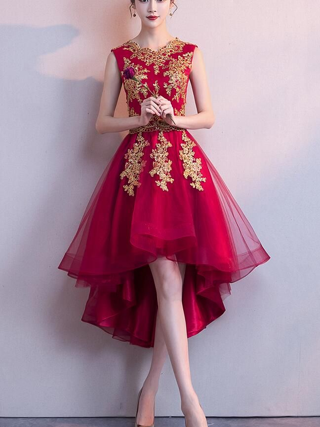 2c2d5229de Wine Red High Low Tulle Formal Dress with Gold Applique