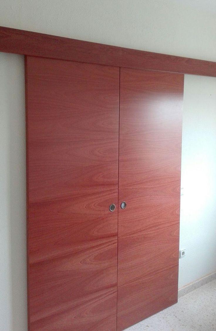 puerta corredera doble l sapelly rameado sin marcos ni tapajuntas galera exterior sapelly rameado