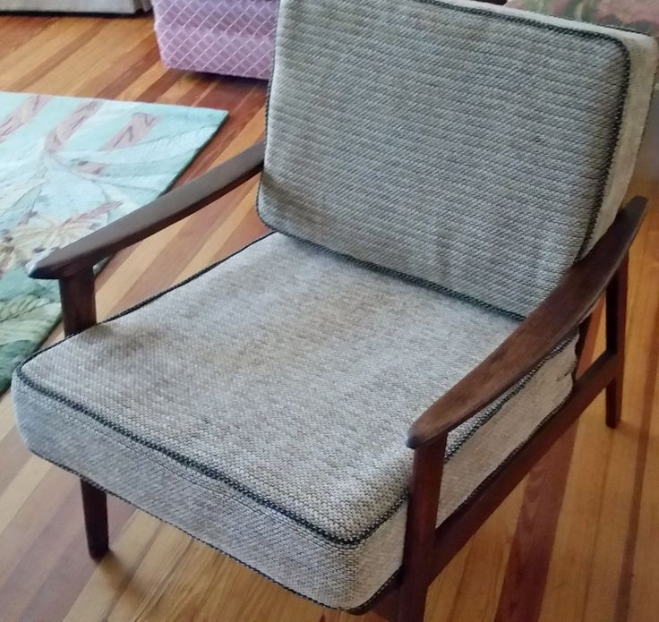 ReEnvisioned Mid Century Modern Pearsall Era Chair.  Completely ReNewed with beautiful luxury chenille fabric cushions. Restored $500