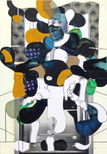 """Saatchi Art Artist Pascal Marlin; Collage, """"young boy upholstered interior"""" #art"""