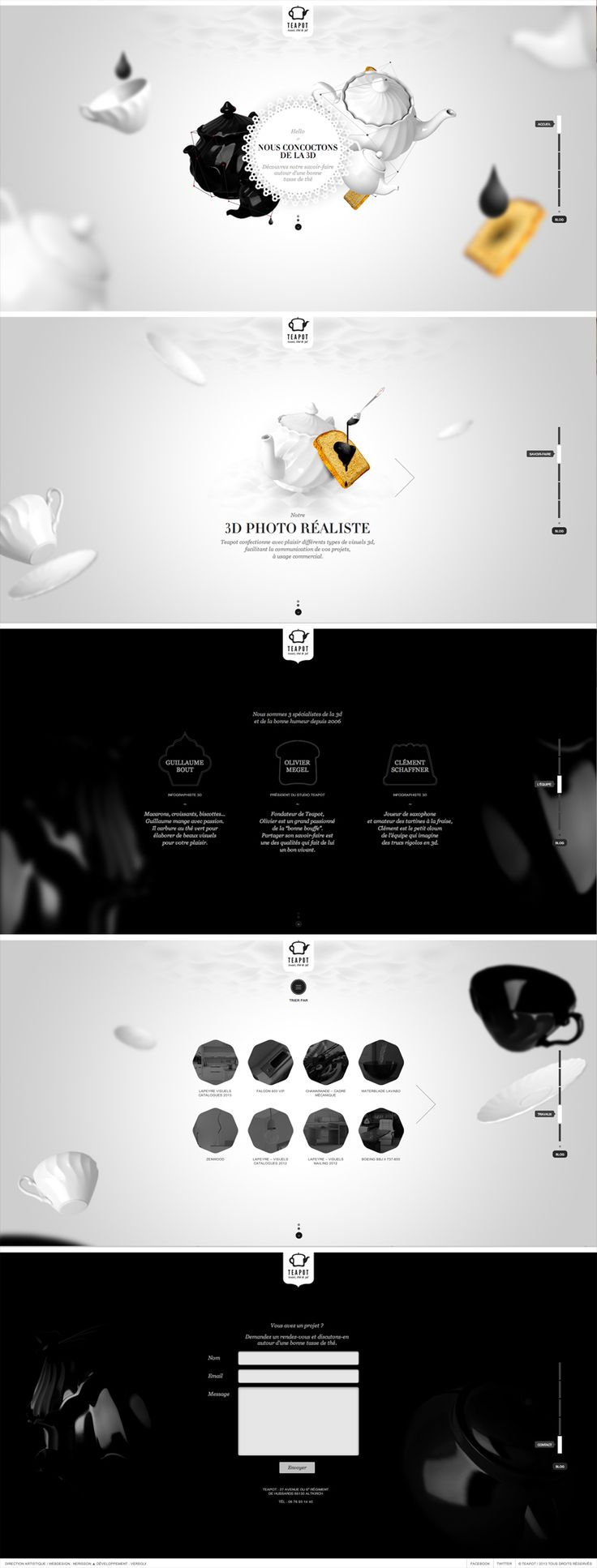 Teapot Black & White web design