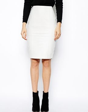 Image 4 ofASOS Leather Pencil Skirt In Knee Length