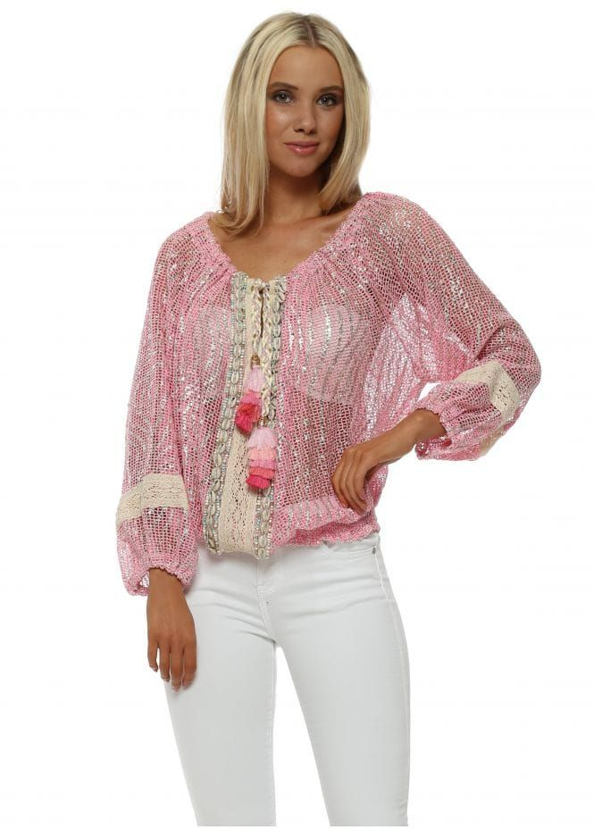 cc0d25fabf90 Pink Metallic Knit Natural Shell Top