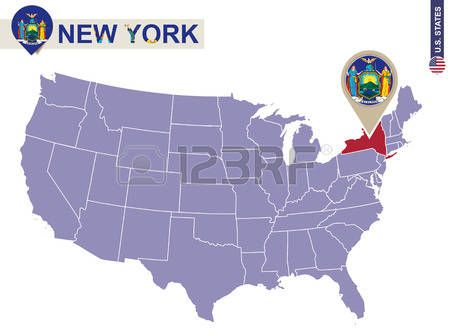 Estado de Nueva York en EE.UU. mapa. bandera de Nueva York y un mapa. Estados Unidos.