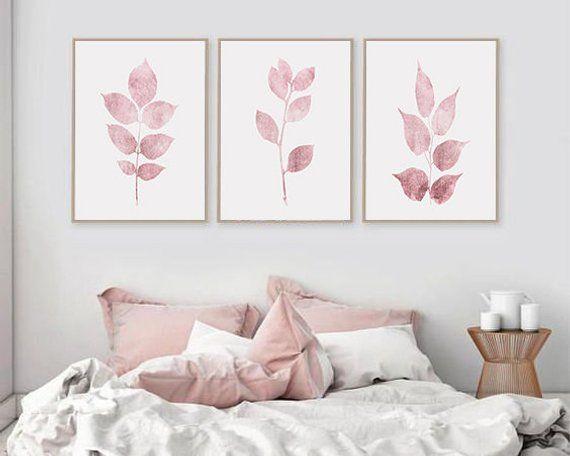 Pink Leaf Prints Set Of 3 Wall Art Pink Botanical Etsy Pink Wall Decor Pink Wall Art Wall Decor Bedroom
