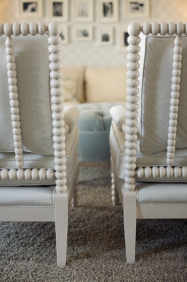 These bobbin chairs are by Motif Designs and the detail and finishes available are absolutely stunning! I did this pair for a client in a simple gray Pindler & Pindler tone on tone stripe.