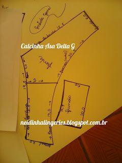 Neidinha Gomes Costuras em geral ( Moldes): Moldes de calcinha Asa Delta G