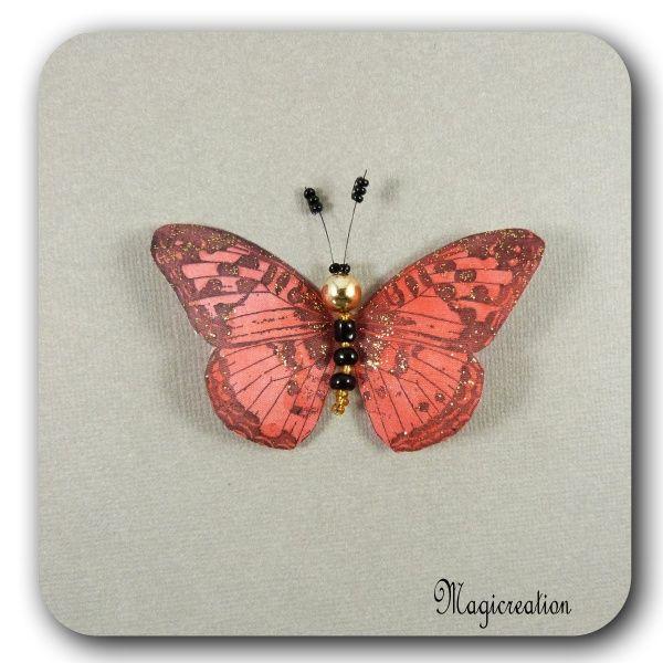 MAGNET PAPILLON SOIE ROUGE DORE - CYLIANE - Boutique www.magicreation.fr