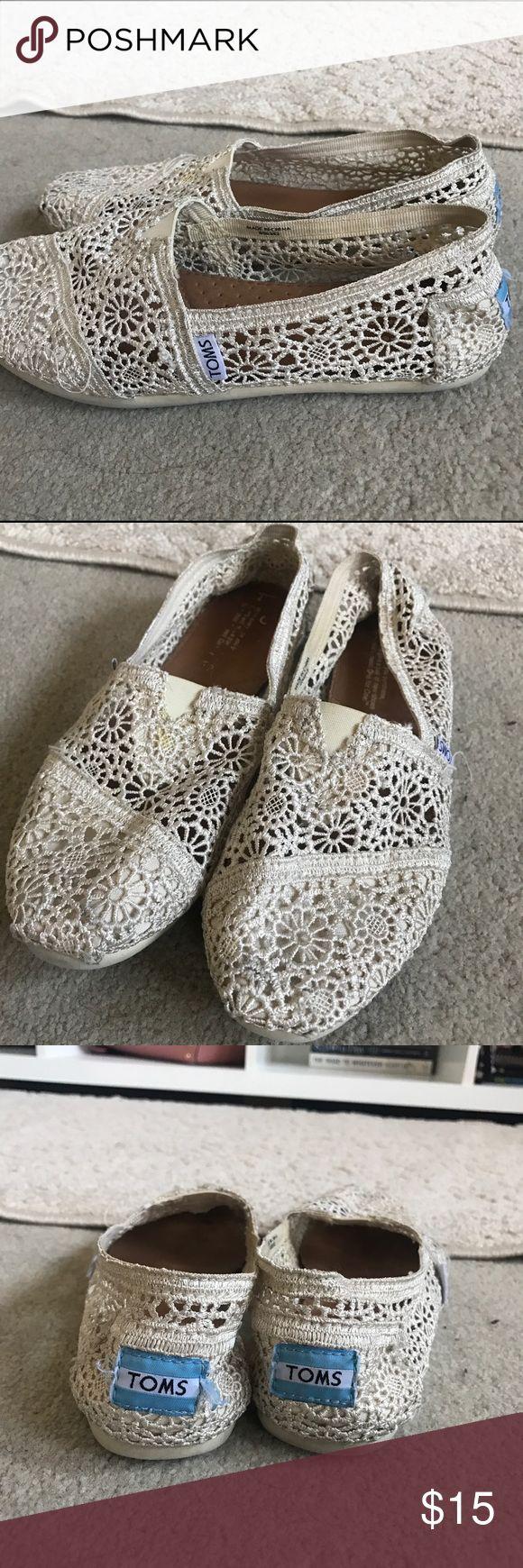 Crochet TOMS Size 7 :) crochet/lace white toms TOMS Shoes Flats & Loafers