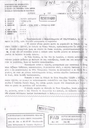 Documento oficial aponta relatos 25 anos antes do Caso ET de Varginha - OVNI Hoje!