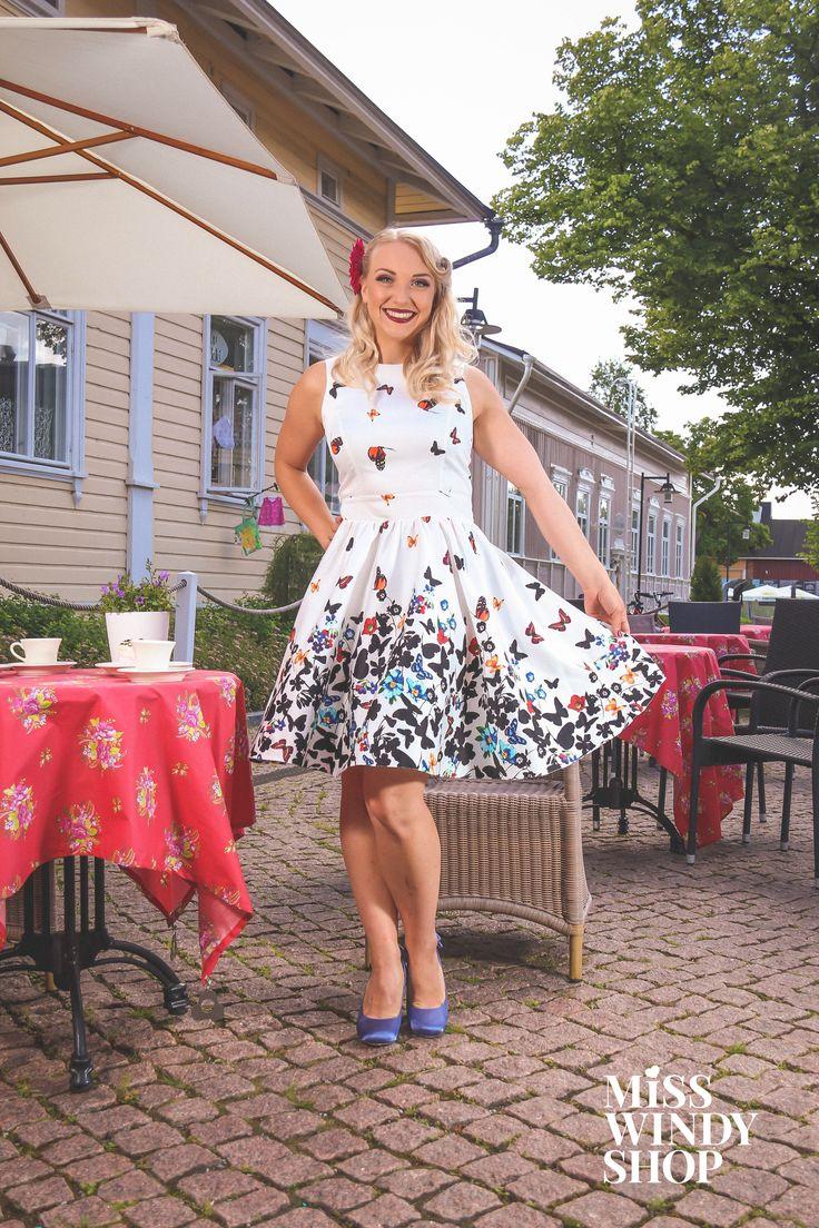 Day out (c) misswindyshop.com #vintagestyle #circledress #butterfly #white #50s #fifties #nostalgia #cafe #cobblestone #pinup #dressrevolution #mekkovallankumous