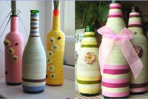 Бутылки, декорированные нитями