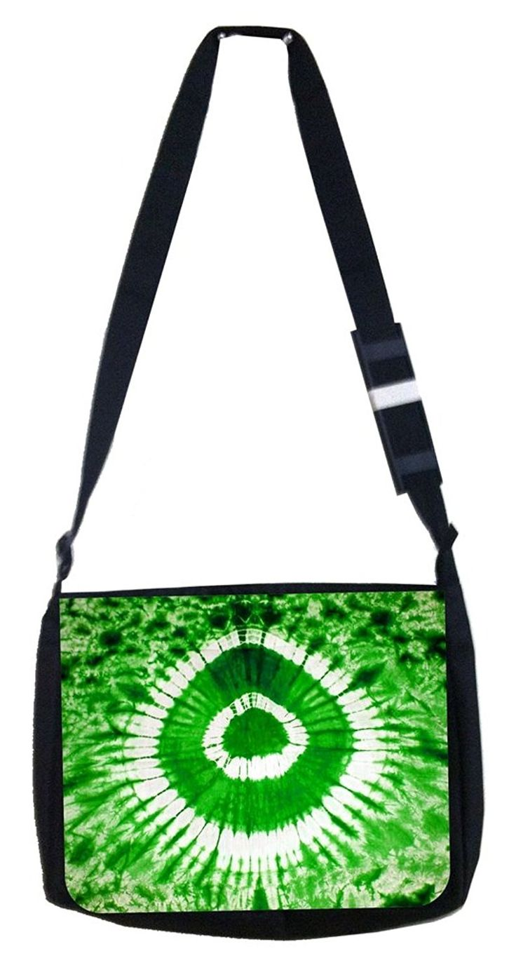 Green circle tie dye Rosie Parker Inc. TM Medium Sized Messenger Bag 11.75' x 15.5' and 4.5' x 8.5' Pencil Case SET -- Details can be found by clicking on the image.