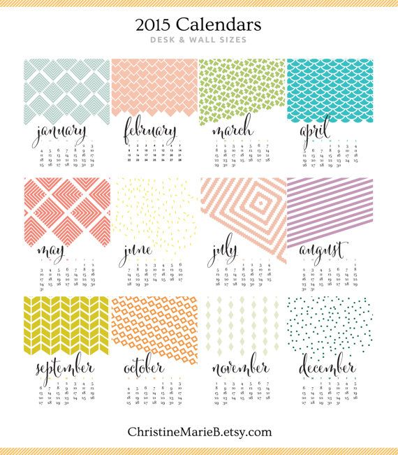 "2016 Monthly Wall Calendar Bold, Modern, Colorful Watercolor Designs - 11"" x 17""…"