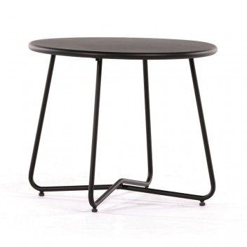 SUNFUN HAGEBORD LINEA SVART STÅL 60X50 CM til verandaen v/sort stol