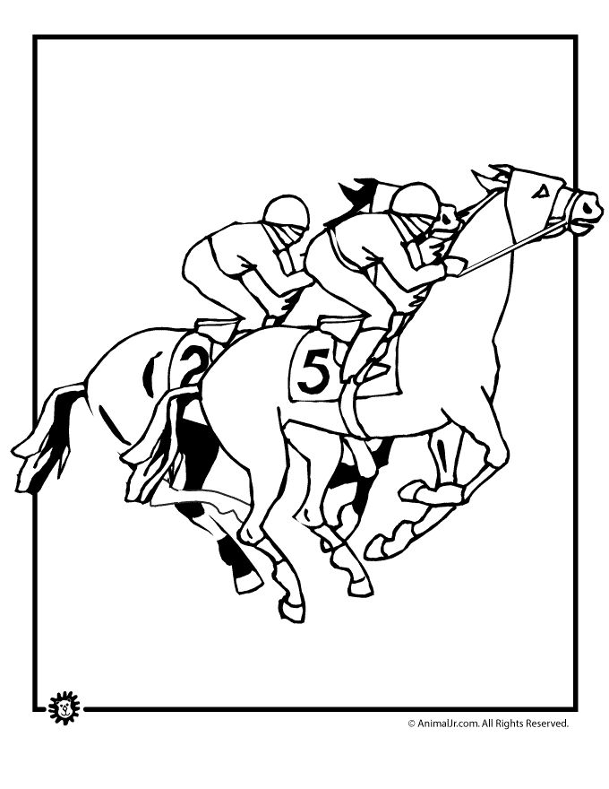 kentucky derby color sheets | Kentucky Derby Coloring Pages Horse Racing Coloring Page – Animal Jr ...