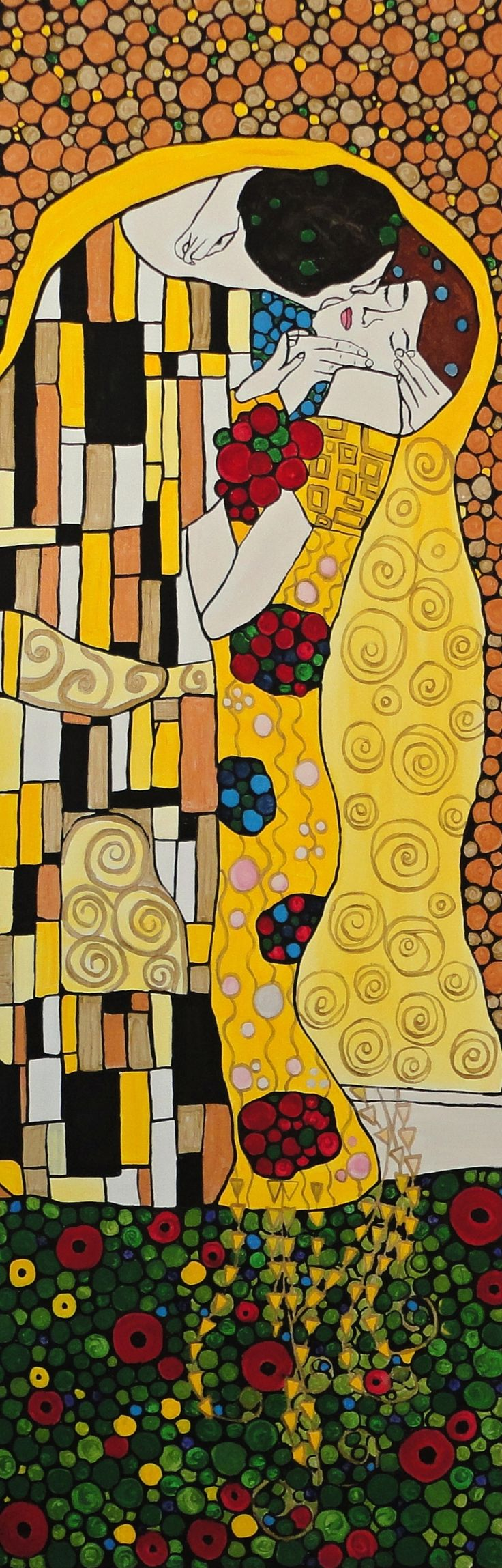 "Inspired by my favorite artist Gustav Klimt. My version of ""The Kiss"" on a 12''x36''x.75'' framed gallery wrapped canvas. Visit me on my website at www.olynukartanddesign.com"