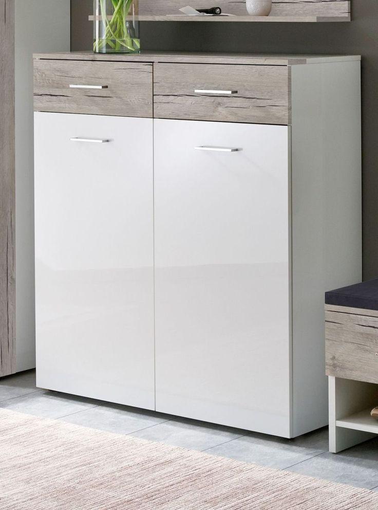 Kommode Weiss Hochglanz  Sandeiche Woody 70-00724 Holz Modern - schrank für wohnzimmer
