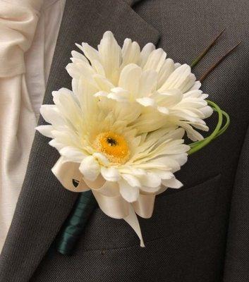 Ivory Silk Double Gerbera Grooms Wedding Buttonhole, Best Man, Usher, Day,Button