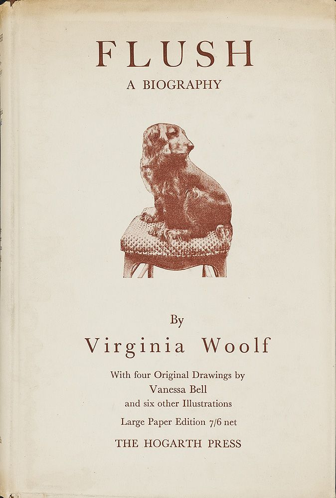 In 1930, after Virginia Woolf attended Rudolf Besier's play, The Barretts of Wimpole Street, she began to reread Elizabeth Barrett Browning's poetry and letters. Woolf's fanciful biography of the Brownings, seen through the lens of their cocker spaniel, was published in 1933, with four drawings by Vanessa Bell. Pinka, the cocker spaniel that Vita Sackville-West gave Virginia Woolf in 1926, was photographed for the dust jacket and frontispiece of the first edition.