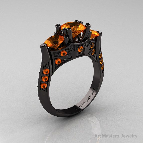 Nature Inspired 14K Black Gold Three Stone Orange Sapphire Solitaire Wedding Ring Y230-14KBGOS on Etsy, $2,449.00