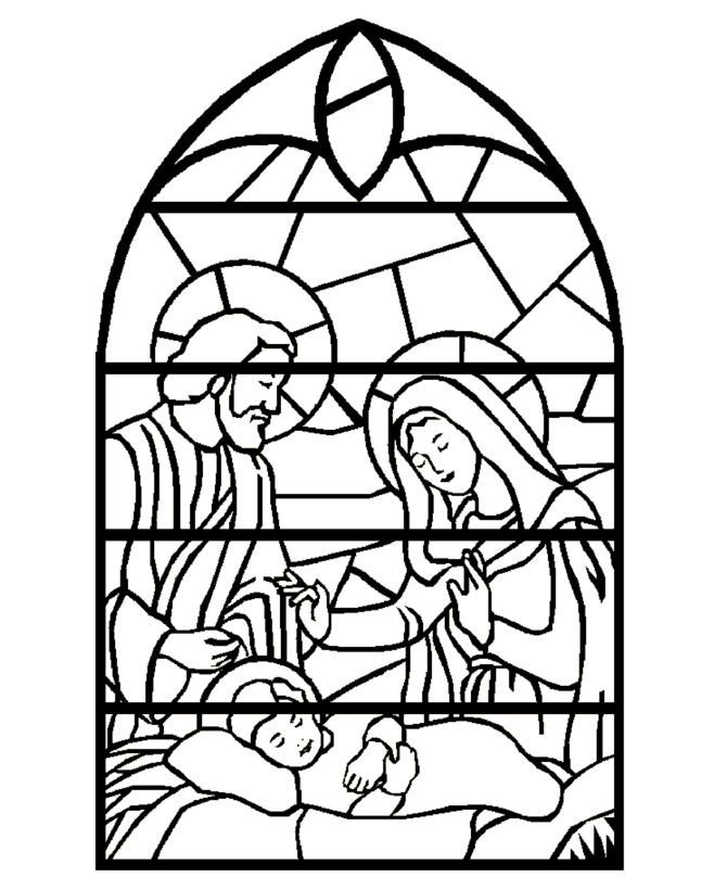 stained glass nativity scene christmas bible coloring page print on projector paper