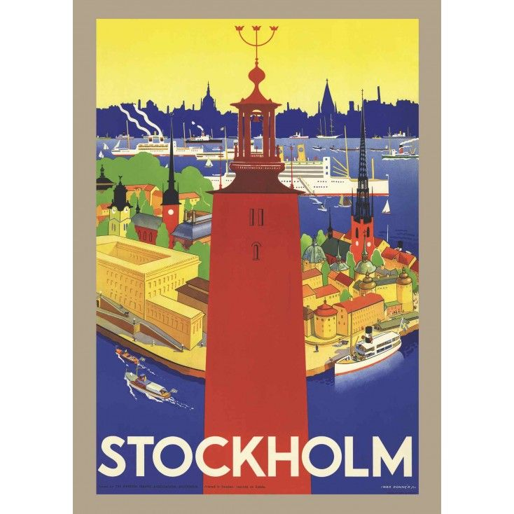 Come to Sweden Stockholm and the City Hall Vintage Travel Poster: Once this poster made Sweden look great, now it will do the same for your home!  Artist: Iwar Donnér (1884-1964)  Published: 1936  The original posters are found by Magnus Londen - a dedicated Poster Hunter and an expert on Scandinavian travel history, he is today a sought-after lecturer, both in Finland and abroad.