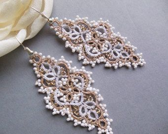 Black tatting lace earrings tatting jewellery by KidichiAndMama