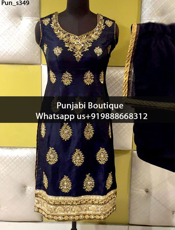 Gorgeous MidNight Blue Punjabi Suit Product Code: Pun_s349 To order this dress , please call or WhatsApp us at +919888668312 We can design this punjabi suit in any color combination or on any fabric (price may vary according to fabric)