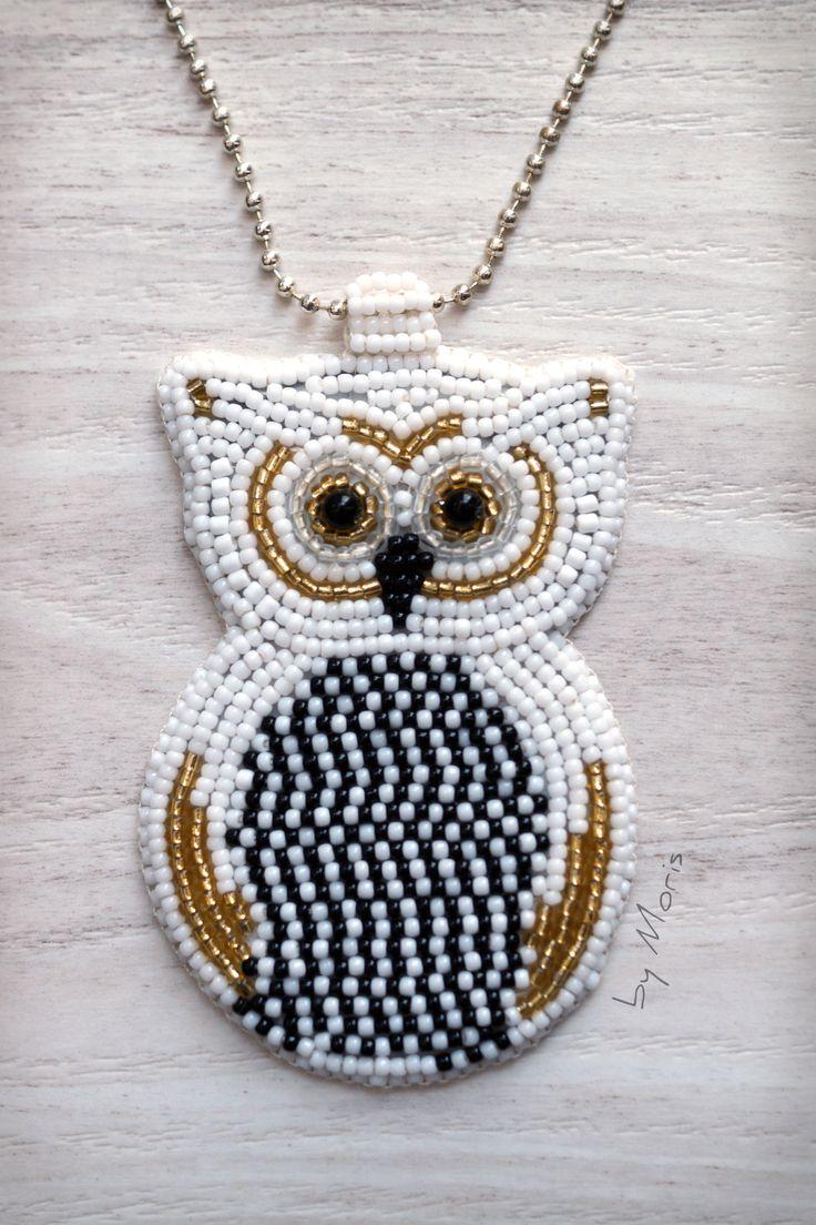 #owl #beading #pendant #beads #diy #handmade #rękodzieło #naszyjnik #wisiorek