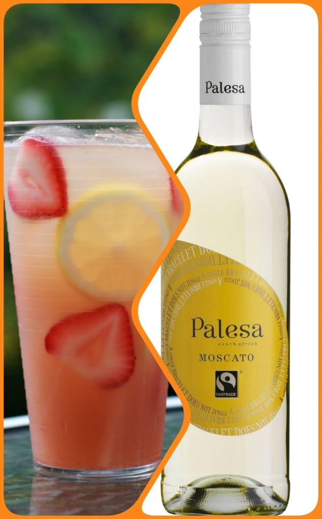 #Fairtrade Moscato Cocktail: Blend together 4 strawberries, 1 teaspoon of sugar, 1 sprig basil and 3 teaspoons of lemon juice. Fill a tall glass with ice and Moscato. Pour cocktail mix over the Fairtrade Moscato, add lemon and a bendy straw, and ENJOY.