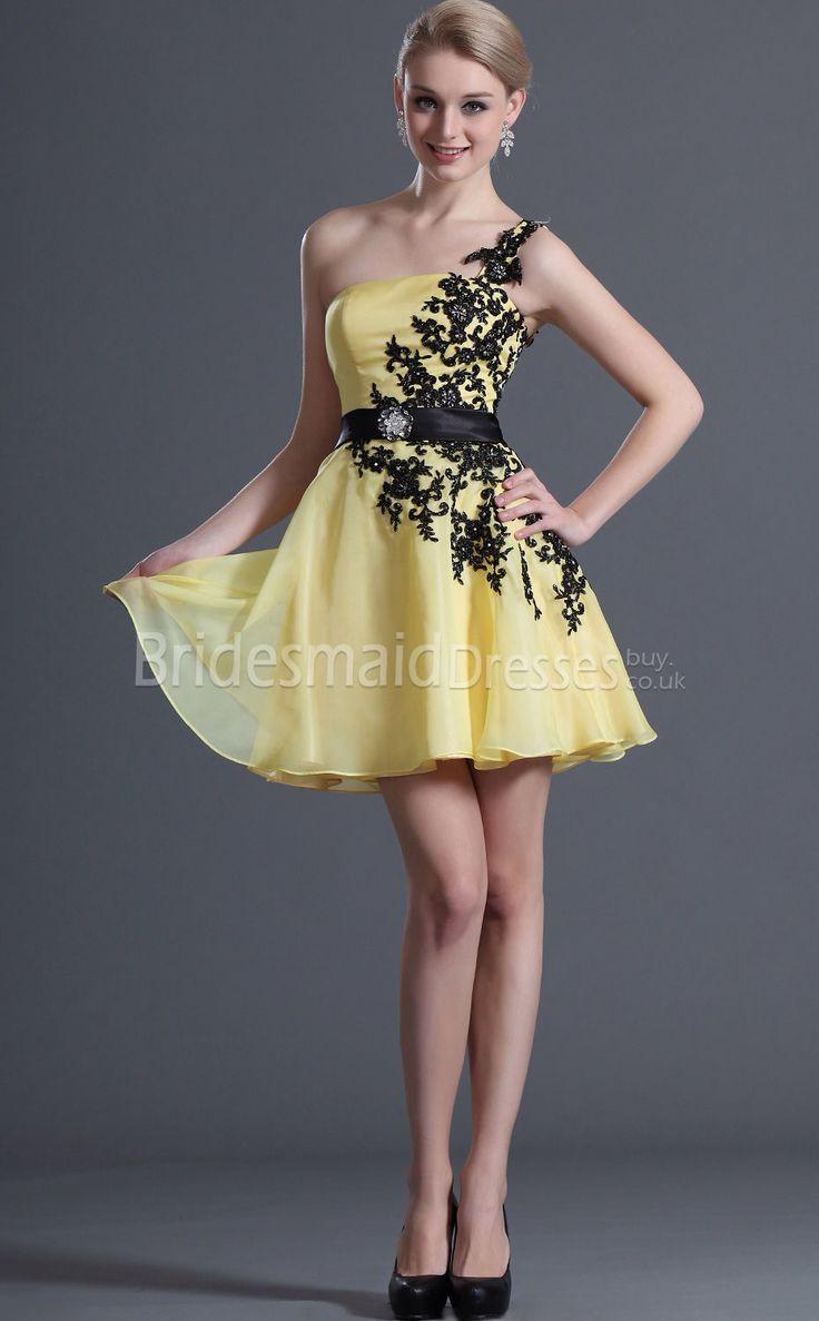 Black dress yellow sash - Yellow Chiffon Dress With Black Lace Sash And Detailing Into One Shoulder Dress