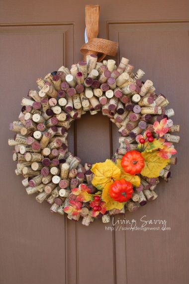Fall wreath made from wine corks, from Living Savvy blog.