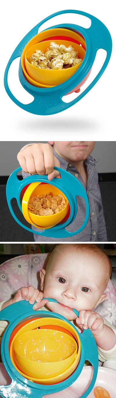 Gyroscopic Toddler Bowl // it always stays upright! Clever... obviously for a geek baby. Haha! #product_design
