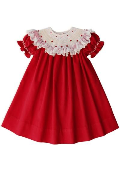 9d073e207247 Hand Smocked Christmas Red Baby Girls Bishop Dress with Lace | Smock ...