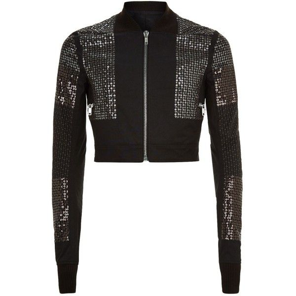 Rick Owens Sequinned Cropped Bomber Jacket ($1,755) ❤ liked on Polyvore featuring men's fashion, men's clothing, men's outerwear, men's jackets, mens summer jackets and mens sequin jacket