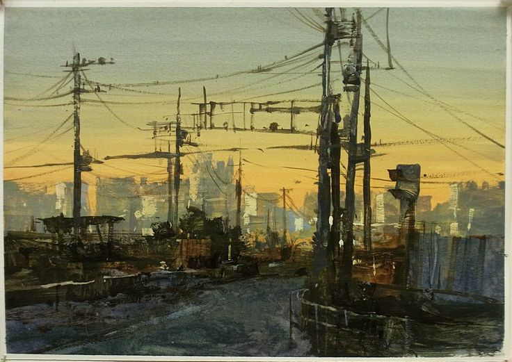路口的電線桿 | 半透明水彩 watercolor 18*27CM,簡忠威. [Intersection] wire rod translucent watercolor, 18 * 27CM, Jane Zhong Wei