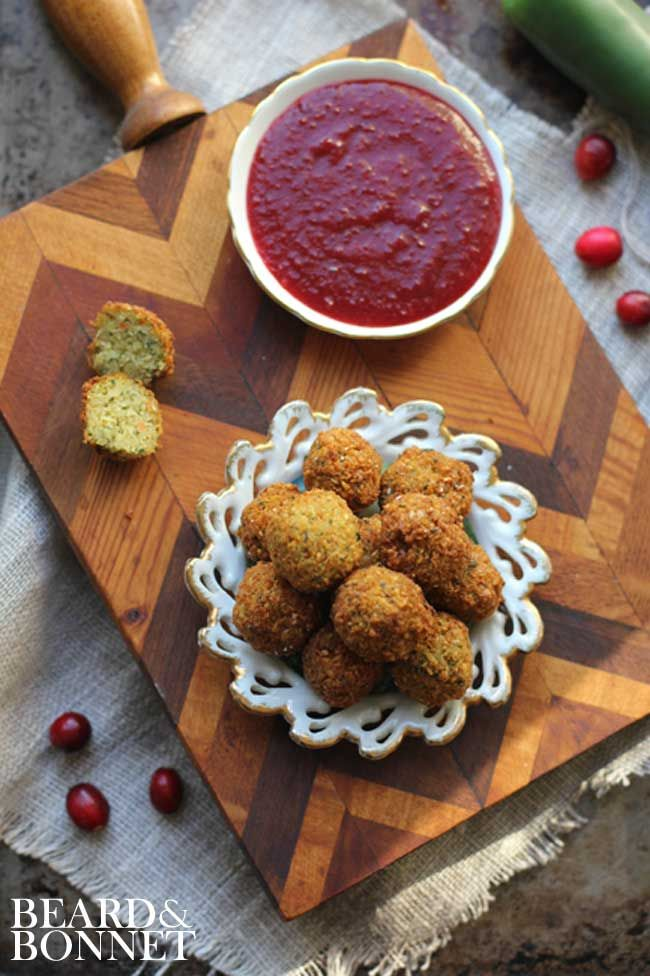 Thanksgiving Stuffing Poppers with Cranberry Jalapeno Dipping Sauce #glutenfree #vegan #falafel