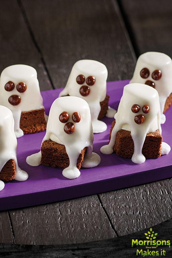 Chocolate Brownie Boo Ghosts. Delicious brownies topped with meringue ghosts are a fun sweet treat for Halloween.