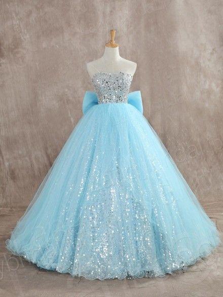 カラードレス プリンセスライン 水色 リボン チュール スパンコール キラキラ JUZ014002