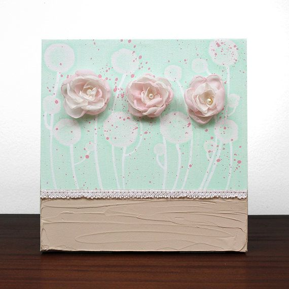 Baby Girl Nursery Wall Art - Original Textured Painting on Canvas - SMALL 10X10 - Mint Green Pink Art - IN STOCK