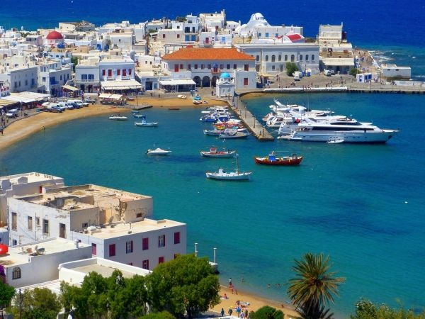 Old port of Mykonos, as seen by  a seagull