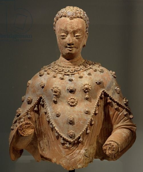 Buddha dressed as pilgrim with three points, terracotta statue from Fondukistan monastery, Ghorband Valley, Afghanistan, Afghan Civilization, 7th century