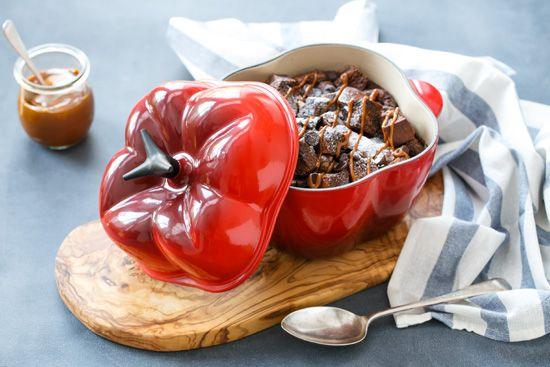Spicy Chocolate Bread Pudding with Dulce de Leche  - featuring the new Bell Pepper Cocotte from @Le Creuset